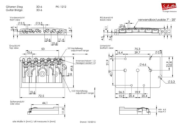 schaller 3d 6 string roller guitar bridge btn music uk. Black Bedroom Furniture Sets. Home Design Ideas