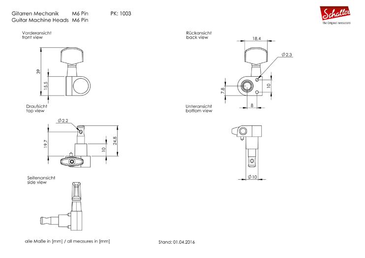 Schaller M6L Pin Fit Locking Tuners