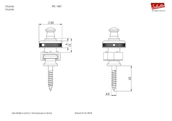 Schaller S-Locks Technical Drawing
