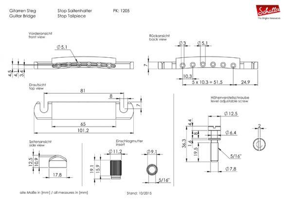 Schaller Stop Tailpiece Dimensions