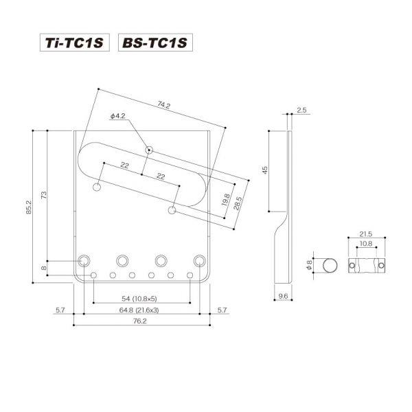 GOTOH BS-TC1S Telecaster Bridge Dimensions